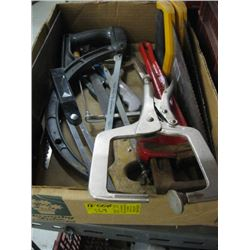 BOX OF MISC SAWS, PIPE WRENCH, CLAMP ETC.