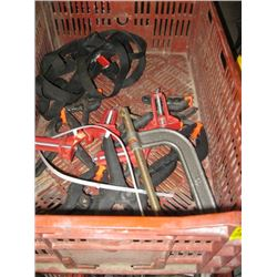BIN OF MISC CLAMPS, SPRING CLAMPS, C-CLAMP, CORNER CLAMP ETC.