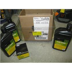 BOX OF MISC JOHN DEERE OIL & FILTER, ECO 2 STROKE OIL & MISC