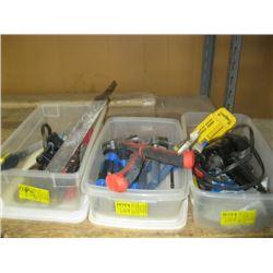 3 PLASTIC BINS OF ASSORTED TOOLS, GLUE GUN, SCREWDRIVERS, CLAMPS ETC.
