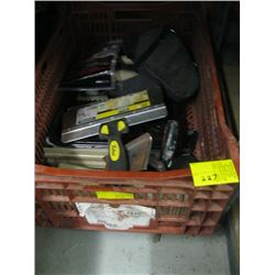 BOX OF TROWELS, PAINTING SUPPLIES, TILE SUPPLIES ETC.