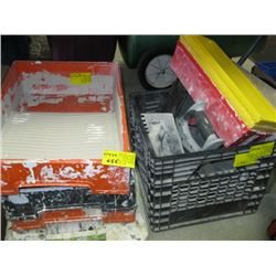 A LOT OF PAINTING TRAYS, TILE, MUD HOLDERS, GROUT APPLICATORS