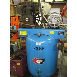 7.5 HP CHALLENGE AIR COMPRESSOR, BIN WITH HEAVY DUTY AIR LINE, AIR FILTER ETC.