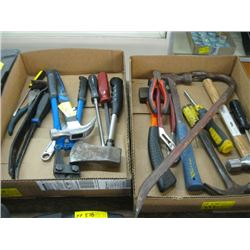 2 FLATS OF ASSORTED HAMMERS, PRY BARS, PLIERS ETC.