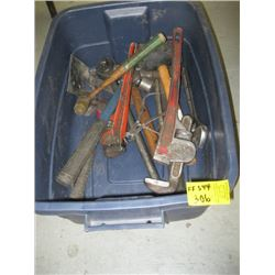 BIN OF MISC TOOLS, HAMMER, PIPE WRENCHES ETC.
