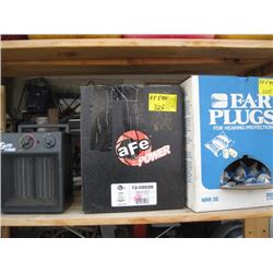 PARTIAL BOX OF EARPLUGS, AFE POWER FILTER, SUPER FURNACE HEATER