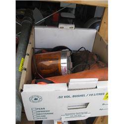 BOX OF YELLOW FLASHING LIGHTS, SAFETY VEST ETC.