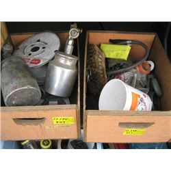 2 WOODEN CRATES OF TAPE MEASURES, PAINT SPRAYERS, MISC ETC.