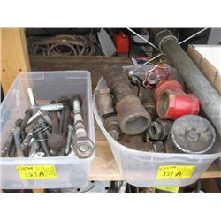 2 BINS OF BOLTS & PIPE ATTACHMENTS