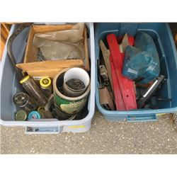 3 BINS OF MISC TOOLS, NUTS & BOLTS ETC.