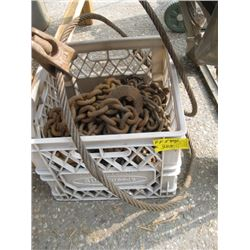 1 CRATE OF MISC CHAINS, CHAIN PIECES