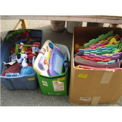 3 BOXES OF KIDS TOYS & COLORED MATS