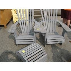 2 GREY WOODEN CHAIRS AND FOOT STOOL