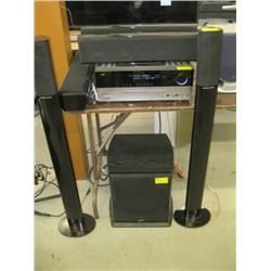 HARMAN KARDON STEREO RECIEVER, 2 TOWER SPEAKERS, 3 SURROUND SPEAKERS AND SUB(AND SOUNDSTAGE)