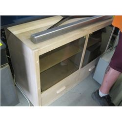 1 WOOD TV STAND WITH GLASS DOORS