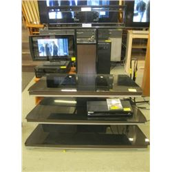 1 BLACK GLASS 3 TIER TV STAND WITH MOUNTING BRACKET