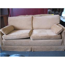 1 BROWN LOVESEAT WITH ROLL OF FABRIC