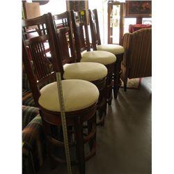 4 WOODEN SWIVEL BAR STOOLS (1 CHAIR HAS CRACK)