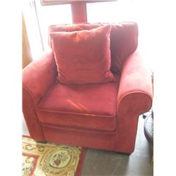 MICROFIBER RED CHAIR WITH PILLOW