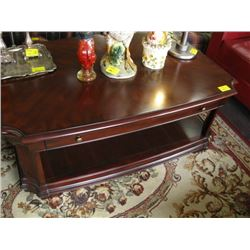 DARK WOOD COFFEE TABLE WITH DRAWER