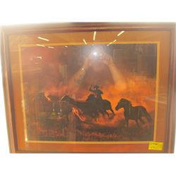1 COWBOY WRANGLING HORSES PICTURE