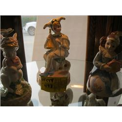 3 CERAMIC MUSICAL FIGURINES (BUNNY & 2 CLOWNS)