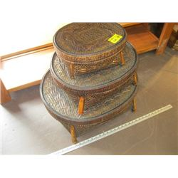 3 WICKER NESTING STOOLS