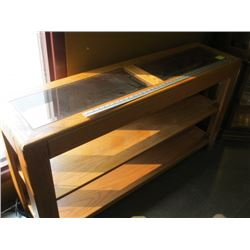 OAK WITH GLASS INSERT SOFA TABLE
