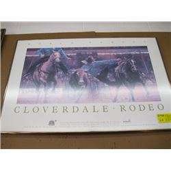 2 - 1991 CLOVERDALE FRAMED RODEO POSTER (1 FRAMED 1 NOT FRAMED)