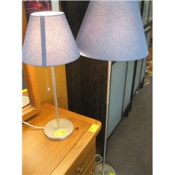 MATCHING BRUSHED ALUMINUM FLOOR LAMP & TABLE LAMP