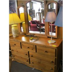7 DRAWER WOODEN MIRRORED DRESSER