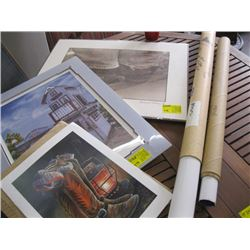 A LOT OF ASSORTED POSTERS (CLOVERDALE RODEO ETC.) AND PRINTS