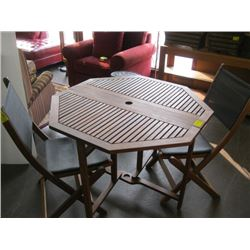 WOODEN HEXAGON TEAK TABLE WITH 2 FOLDING CHAIRS