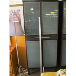 GLASS DOORED 4 DOOR SINGLE DRAWER OPAQUE GLASS CABINET