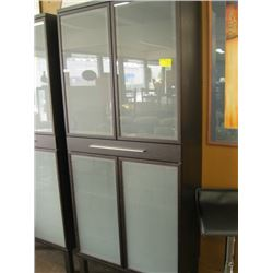 4 DOOR OPAQUE GLASS CABINET WITH DRAWER