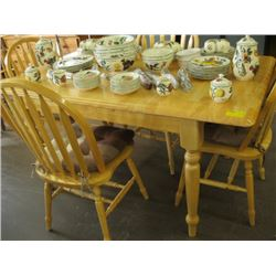 WOODEN DINETTE TABLE WITH 4 ARROW BACK CHAIRS