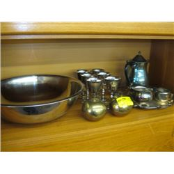 A LOT OF SILVERPLATE, BRASS, LARGE MIXING BOWL