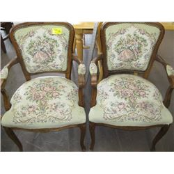 PAIR OF WOOD FRAMED UPHOLSTERED ANTIQUE LOOK CHAIRS