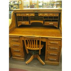 ANTIQUE ROLL TOP DESK WITH MATCHING CHAIR