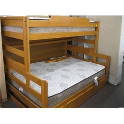 SET OF BUNK BEDS WITH DOUBLE & SINGLE MATTRESSES