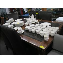 DINING TABLE WITH 6 PADDED CHAIRS & MARBLE INLAY (TABLE & CHAIRS ARE IN ROUGH CONDITION)