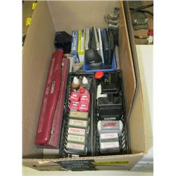 A LOT OF ASSORTED OFFICE SUPPLIES, INK STAMPS ETC.