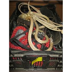 BIN OF ASSORTED HORSE TACK, WHIP