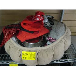 SMALL PET BED, ASSORTED SWEATERS, BOWLS ETC.