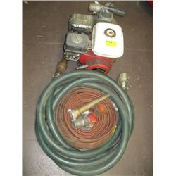 3.5 HP HONDA GX110 WATER PUMP WITH A ROLL OF FIREHOSE, NOZZLES, SUCTION HOSE ETC.