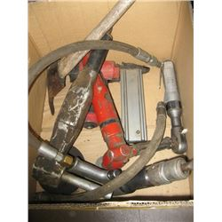 BOX WITH ASSORTED AIR TOOLS, BRAD NAILER, ANGLE GRINDER, CHISEL ETC.