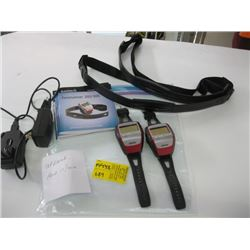 2 GARMIN 4RUNNER 305 GPS WATCHES (WITH HEART RATE MONITOR STRAPS) ETC.