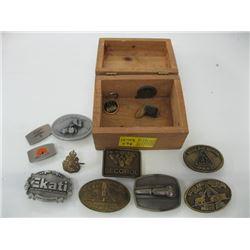 WOODEN BOX OF ASSORTED BELT BUCKLES
