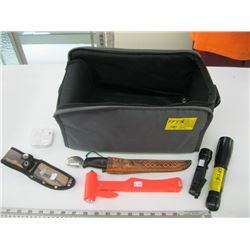 BAG WITH ASSORTED FLASHLIGHTS, SAFETY HAMMER ETC.