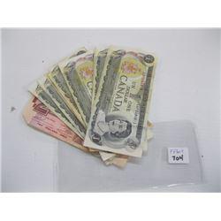 10 - $1 CDN BILLS, 1 - $2 CDN BILL